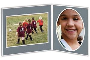 Player/Team 7x5/5x7 Gray Cardstock double photo frame sold in 10