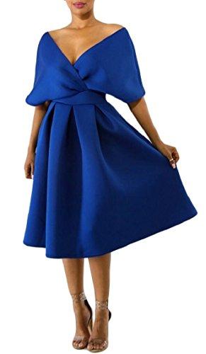 Blue Shoulder Skater Dress Dress 1950's Vintage Womens V Neck Jaycargogo Off Swing Party qgp4W7