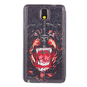 Roaring Panther Drawing Pattern PU Leather Face Plastic Hard Back Cover Pouches for Samsung Galaxy Note3 N9000