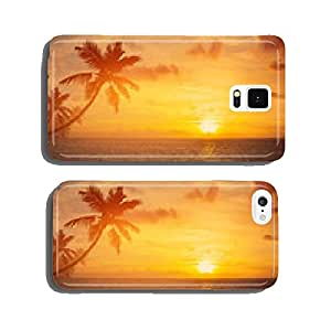 Art palm trees silhouette on sunset tropical beach cell phone cover case Samsung S6