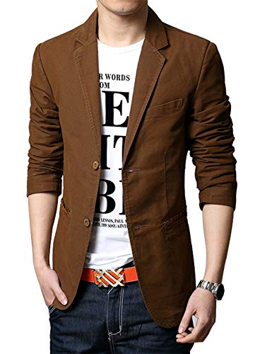 chouyatou Men's Slim 2-Button Single Breasted Cotton Lightweight Blazer Jacket Sport Coat (Small, Brown) ()