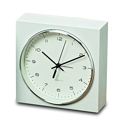 Whole House Worlds The Elemental Block Clock With Alarm, Analog Table Top Time Piece, Quartz Movement, White, 6 1/2 Inches Square, Silver Rim, Modern Style, 1 AA Battery (Not Included,) By WHW World Time Tabletop Clocks