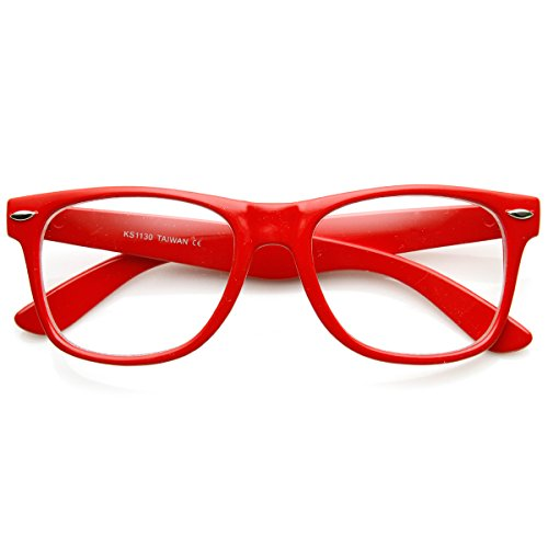 zeroUV - Retro Party Super Neon Color Horn Rimmed Style Eyeglasses Clear Lens Glasses - Frames Eyeglass Red Plastic
