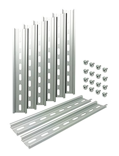 "Electrodepot Slotted Aluminum DIN Rail, 35mm x 8"", Silver – 8 Pieces with 16#10 Stainless Steel ()"