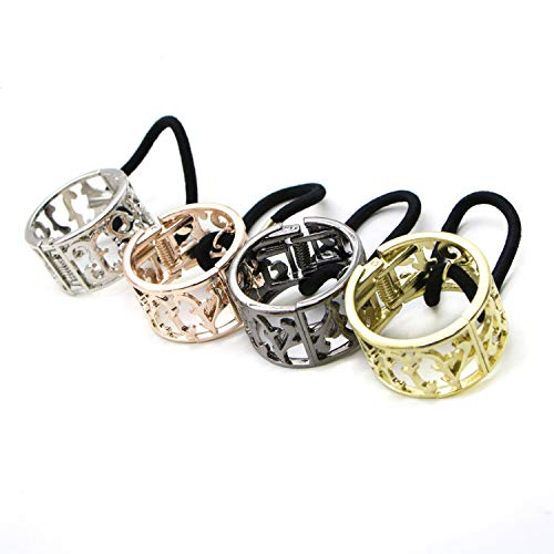 JETEHO Pack of 4 pcs Women Alloy Metal Cuff Wrap Ponytail Holder Hair Holder Elastics Hair Bands Pigtail Buckles