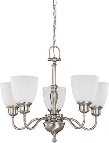1 Glass Chandelier Tier Frosted - Nuvo 60/2775 5 Light Arm Up Chandelier with Frosted Linen Glass