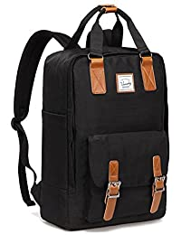 School Backpack, VASCHY Unisex Vintage Water Resistant 15inch Laptop Backpack for Men and Women Bookbag for College Black