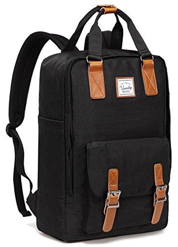 - School Backpack for Men and Women,VASCHY Unisex Vintage Water Resistant Casual Daypack Rucksack Bookbag for College Fits 15inch Laptop Black
