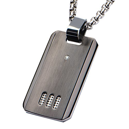 Tribal Hollywood Triptych Gunmetal IP Steel Cz Stone Modern Mens Dog Tag Necklace