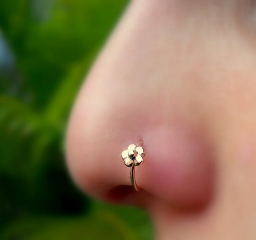 Nose Ring Hoop - Nose Piercing - Cartilage Tragus Earring -14K Solid Gold - 20G to 16G Flower