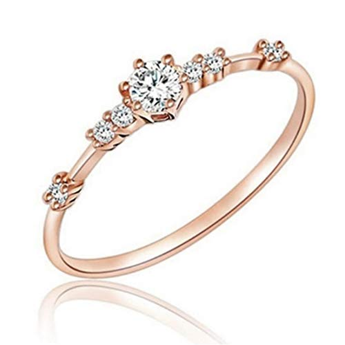 LOSOUL 14k Rose Gold Diamond Engagement Proposal Promise Ring,9#