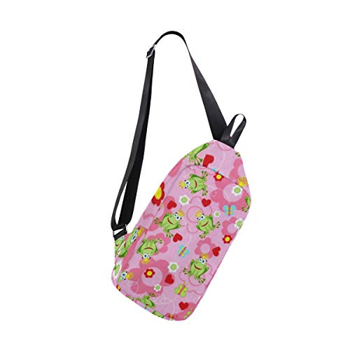 Frog Prince Pink Sling Bag Water Resistant Outdoor Shoulder Backpack Chest Pack Crossbody Bags for Women and Men Causal Daypacks Hiking Cycling and ()