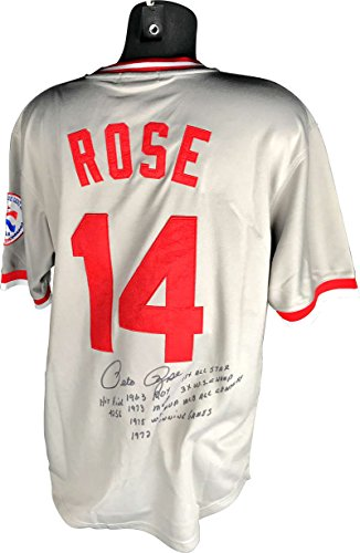 (Pete Rose Signed Autographed Stat Reds Jersey Hit King ROY WS Beckett BAS)