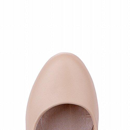 Mee Shoes Damen mit Schleife runde Plateau high heels Pumps Beige