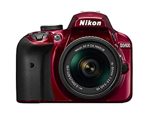 2017 Nikon D3400 24.2 MP DSLR Camera + AF-P DX NIKKOR 18-55mm f/3.5-5.6G VR Lens (Red) (Certified Refurbished)