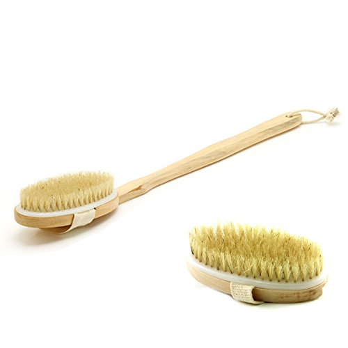 - Bath & Relax New Bath Body Brush Back Scrubber Natural Bristles For Shower Exfoliating, Cleansing, Dry or Wet Skin Brushing with Long Handle Wooden - Back Shower Skin Brush. For Men and Women