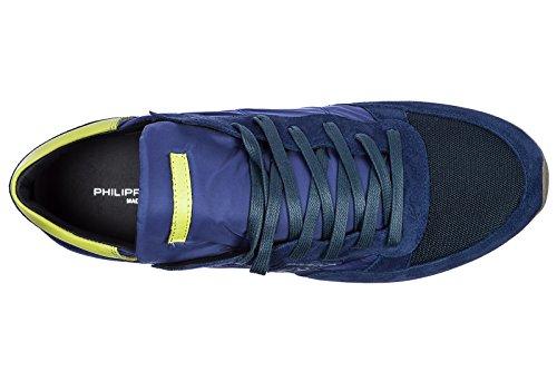 Philippe Model Zapatos Zapatillas de Deporte Hombres EN Ante Nuevo Tropez Blu