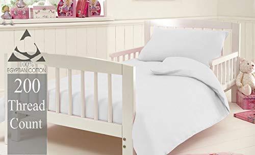 KLAZE Cot Bed Size 200 Thread Count 100/% Natural Egyptian Cotton Duvet Quilt Cover Bedding Set in White Colour