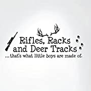 Rifles Racks And Deer Tracks That's What Little Boys Are Made Of Wall Decal Sign Little Boys Sticker Kids Room Decor Hunter Room Decal #1279 (28  wide x 12  high) (Matte Black)