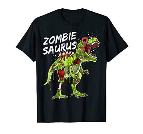 Zombie Saurus Halloween Dinosaur T Rex Zombie Shirt Boys]()