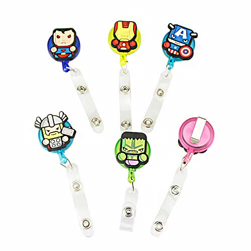 Melleco 6pcs Cartoon Retractable Superheroe Badge Reel Holder for ID Name Card Tag with Belt Clip Cute Gift (A -