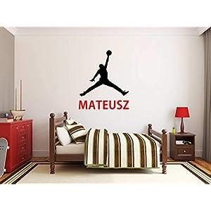 Nom du garçon Sticker mural personnalisé Michale Jordan Air Jordan NBA Basketball Stickers muraux Garçon Vinyle Chambre… 7