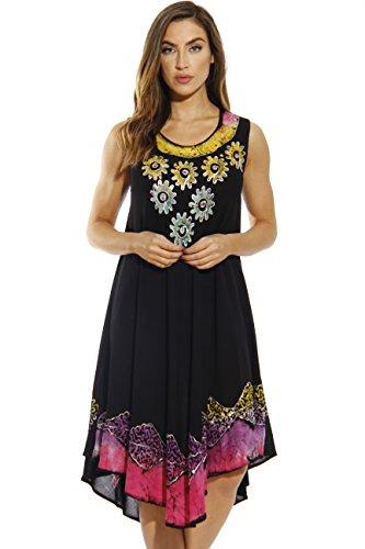 - Riviera Sun Dress / Dresses for Women,Black / Multicolor,Small