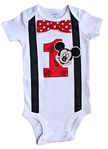 Baby Boys 1st Birthday Outfit Mickey Mouse Bodysuit, White-black-red-dot, 18M-Short -
