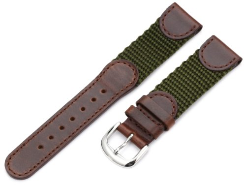 Swiss Gents Watch - Hadley-Roma Men's MSM866RAB190 19-mm Brown and Olive 'Swiss-Army' Style Nylon and Leather Watch Strap