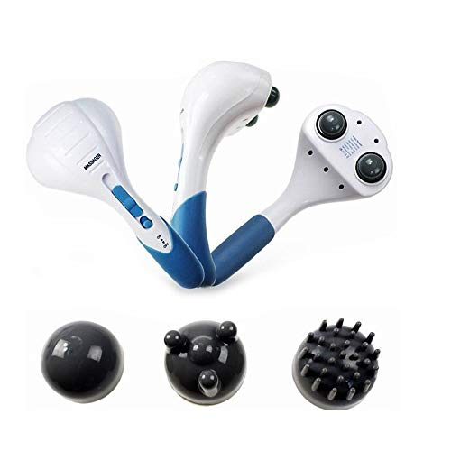 Double Head Handheld Electric Massager Percussion Action for Deep Kneading, Interchangeable Nodes and Wide-range Speed (Best Handheld Electric Massager)