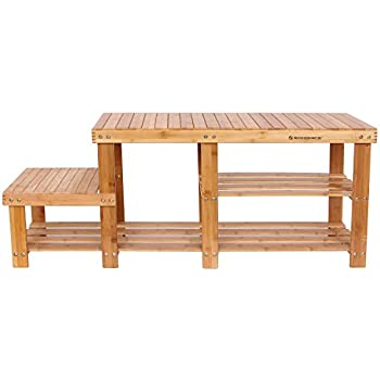SONGMICS Bamboo Shoe Bench  Entryway Storage Rack with High and Low Levels for Adult and Child  ULBS120N