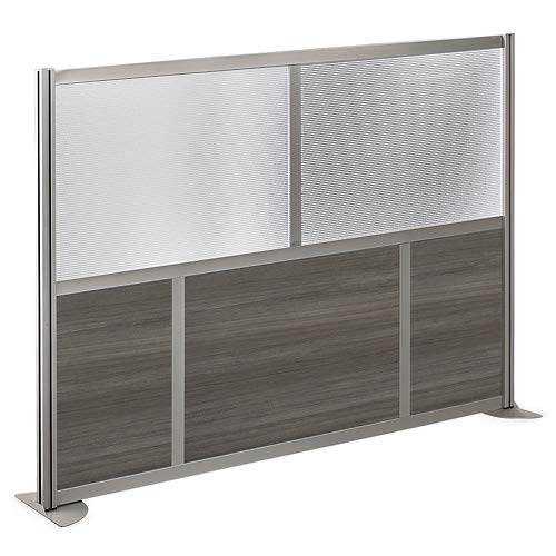 at Work 73'' W x 52'' H Room Divider Gray Laminate and Plexiglas Inserts/Brushed Nickel Finish Aluminum and Steel Frame by NBF Signature Series