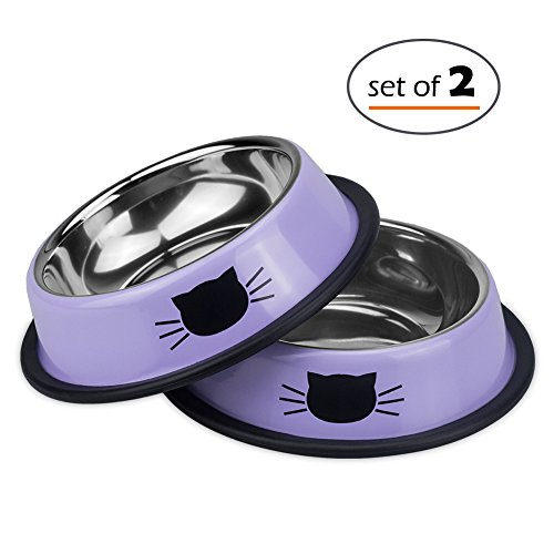 Petfamily Stainless Steel Cat Bowl, Heavy Duty Cats and Dogs Bowls with Non-Skid Rubber Base, Pet Food Bowls, 8 Ounce, Set of 2 (Lavender)