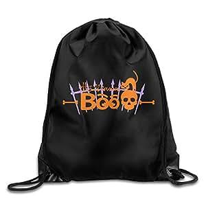 Happy Halloween BOO Pumpkin Black Cat Ghost Pattern Printed Bundle Mouth Single Pocket Summer Drawstring Backpack