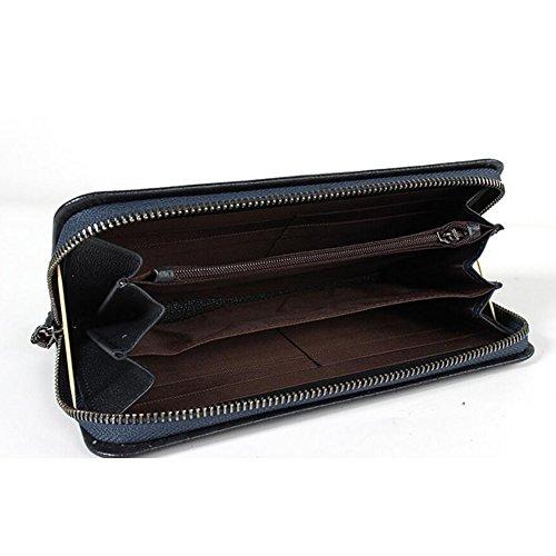 JUNBOSI Herrenbrieftasche Stripes Hochwertige Leder Business Clutch Bag Weiches Leder Großraumkarte Paket Freizeit Business Clutch Schwarz Braun Blau Schwarz