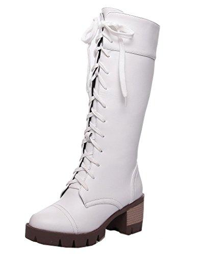Medio Puro Tacco Allacciare Alta Altezza Bianco Stivali Luccichio AgeeMi Shoes Donna OqPUwxnEY