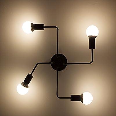Vintage Pendant Ceiling Light, MKLOT Industrial Barn Metal Semi Flush Mount Ceiling Light Chandeliers Lighting Fixture 4-Light