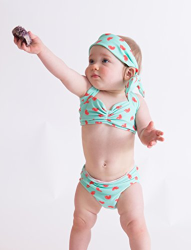 [Red Dolly Swimwear Mint & Fruit print retro baby bikini swimsuit (0-3 mos.)] (0-3 Month Swimming Costumes)