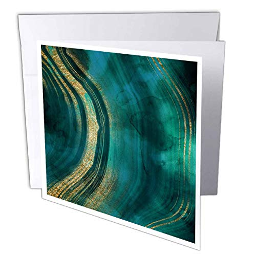 - 3dRose Uta Naumann Faux Glitter Pattern - Image of Chic Dark Trendy Green Malachite Waves Agate Gemstone Quartz - 12 Greeting Cards with envelopes (gc_315381_2)