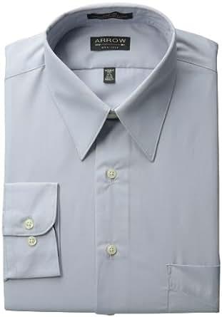 Arrow Mens Fitted Poplin Dress Shirt, Seal, 18/36-37