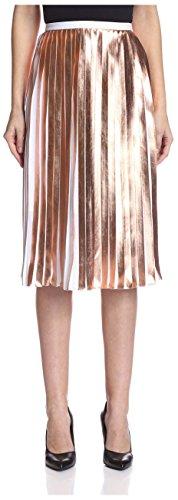 raoul Women's Foil Pleated Skirt, Rose Gold, 12 -