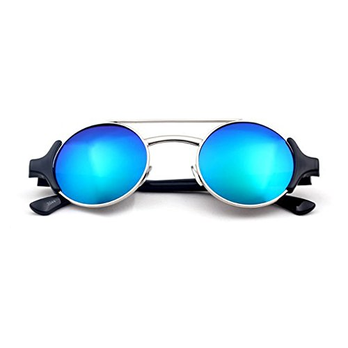 G&T Retro Personality Unisex Metal Frame Round Uv Protection Beach Sunglasses(C6) (What To Wear To 80s Party)