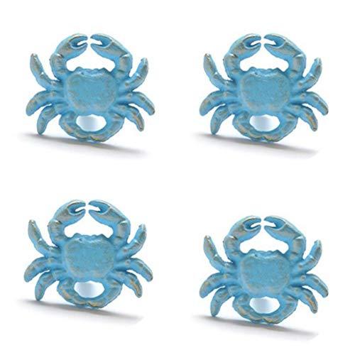 Qlychee 4Pcs Cabinet Knobs Pulls Handles Crab Blue
