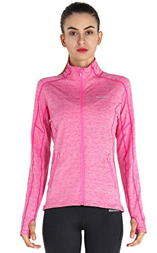 MotoRun Stretchy Women's Running Sports Jackets Full Zip Activewear Coat with Thumb Holes Rosered L