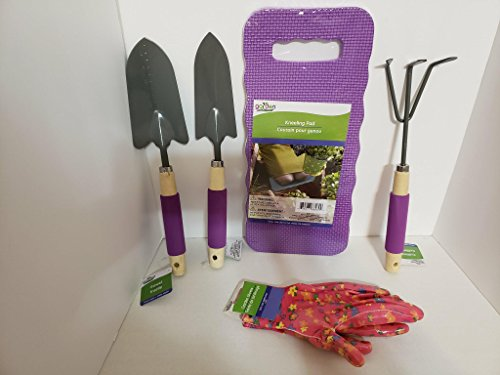 JGT Garden Tools Set Trowel Transplanter Cultivator Gloves Garden Kneeling Pad Weeding Digging, Transplanting, Cleaning, Soil Cultivating Set - Bundle Set of 5 (Purple) by JGT