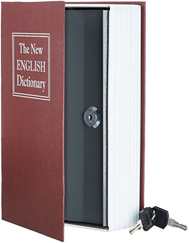AmazonBasics Book Safe, Key Lock, Red