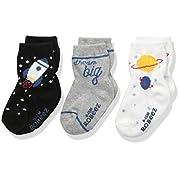 Robeez Baby Boys' 3 Pack Socks, Dream Big-Black, 0-6 Months