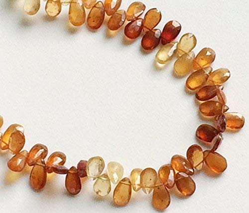 1 Strand Natural Hessonite Garnet Faceted Pear Beads, Natural Hessonite Garnet Spacer Beads, Hessonite Necklace, 6x10mm, 4 Inch by Gemswholesale