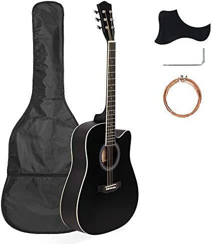 Tidyard 41in Full Size Cutaway Acoustic Guitar 20 Frets Beginner Kit for Students Adult Bag Cover Wrench StringsBeginner Acoustic Cutaway Guitar Black