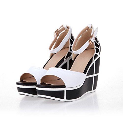 Allhqfashion Womens Ronde Peep Toe Hoge Hakken Koe Lederen Solide Sandalen Met Platform Wit